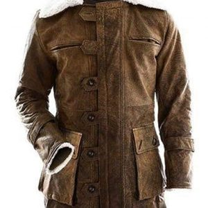 BANE Dark Knight Rises Distressed Dark Brown Real Leather Coat