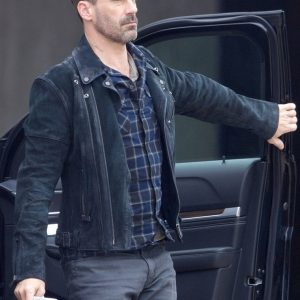 Hollywood Action Movie Baby Driver Budy Jon Hamm Suede leather Jacket