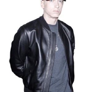 American Rapper Eminem Black Leather Jacket