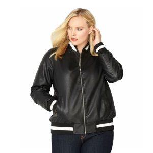 Women Varsity Style leather Jacket
