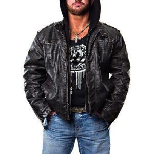 American Professional Wrestler AJ Style Leather Hoodie Jacket