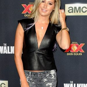 The Walking Dead Premiere Ashley Tisdale Faux leather Vest