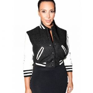 Kim Kardashian Black & White Varsity Jacket