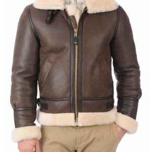 Men Bomber Shearling Leather Jacket