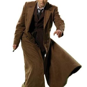 Doctor Who 10th Doctor Brown Long Coat, Brown Coat, Cotton Coat
