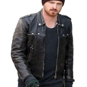 Aaron Paul Jacket, Distressed leather Jacket