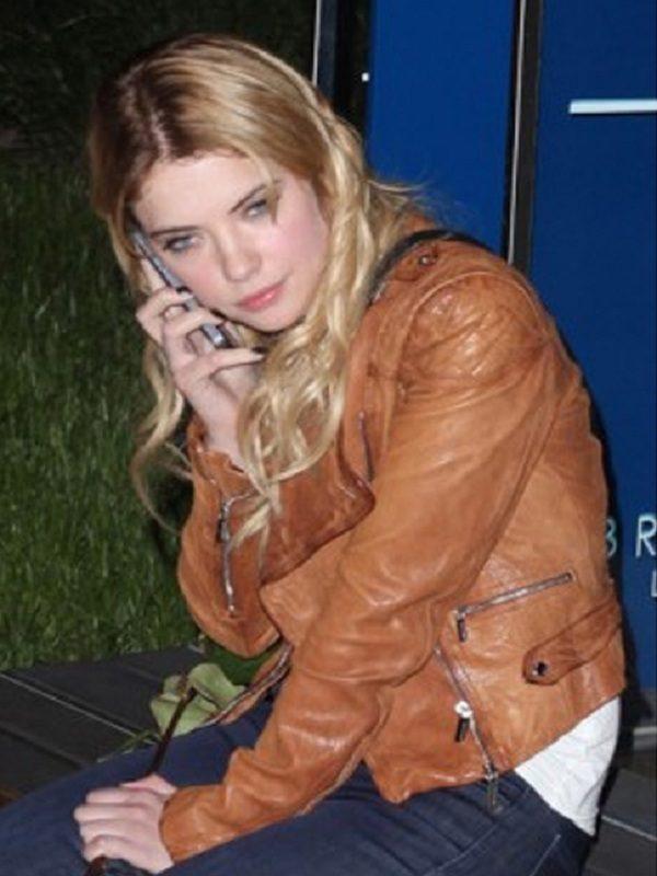 Ashley Benson Tan Brown Leather Jacket