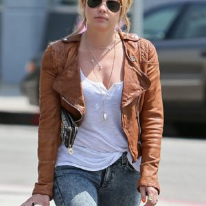 Ashley Benson Tan Brown Leather Jacket