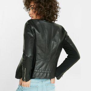Women's Fashion Slim Fit Design Trendy Leather Jacket