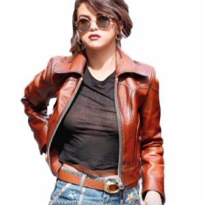 Selena Gomez Stylish Leather Jacket