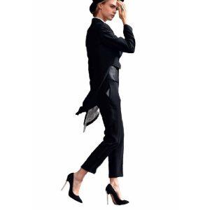 Aactress Cara Delevingne Wool Tuxedo Coat