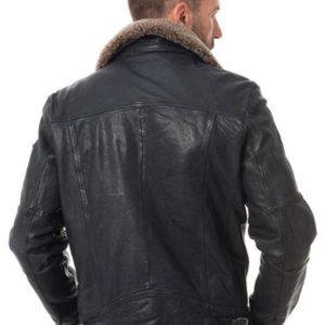 Men Classic Slim-fit design Detachable Faux Fur Collar Leather Jacket