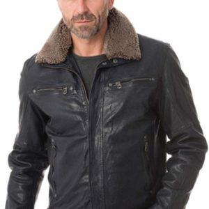 Men Classic Detachable Faux Fur Collar Slim design Leather Jacket