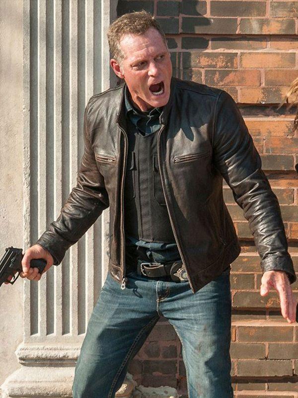 Jason Beghe Chicago P.D. Hank Voight Brown Leather Jacket