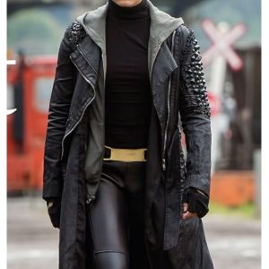 Deadpool Warhead Brianna Hildebrand Black Leather Coat