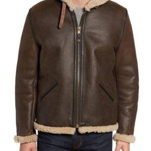 Men Shearling Vintage B6 Hooded Genuine Leather Jacket