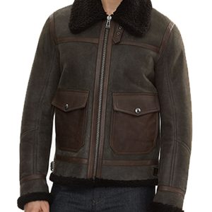 Man Classic B7 Bomber Style Shearling Leather Jacket