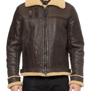 Man Classic Style Bomber B3 Shearling Leather Jacket