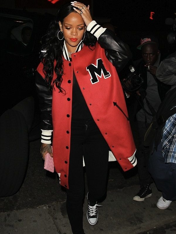 Rihanna Red Long Jacket
