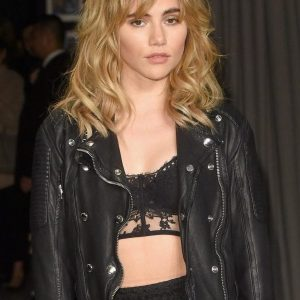 Model Alice Suki Waterhouse Biker Leather Jacket