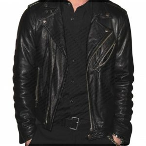 Singer Adam Levine Motorbiker Black Leather Jacket