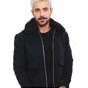 detachable faux fur collar cotton jacket, Zac Efron Blue Fabric Jacket