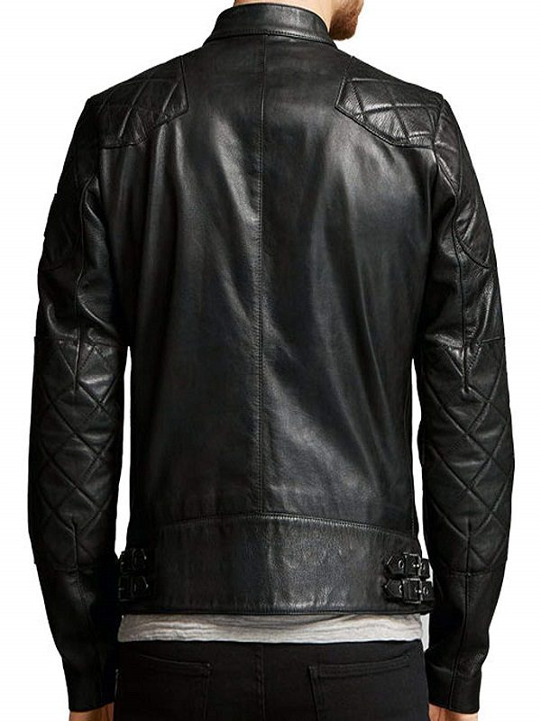 David Beckham Slim Fit Leather Jacket