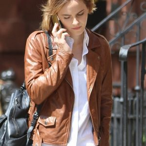Emma Watson Brown Brando Biker Leather Jacket