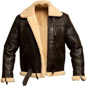 Men RAF Aviator Bomber Shearling Sheepskin Leather Jacket