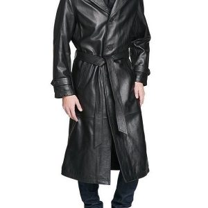Men Full Length Leather Trench Coat | Celebjacket