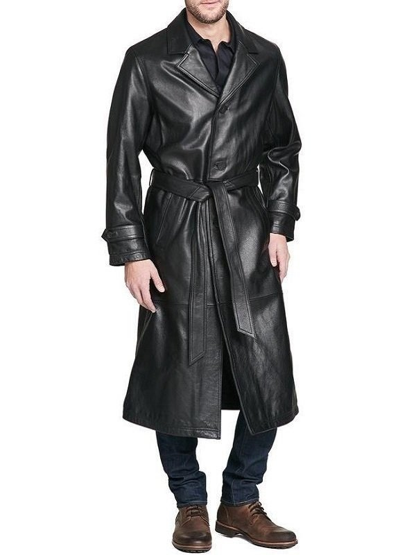 Men Full Length Leather Trench Coat | Celebjacket