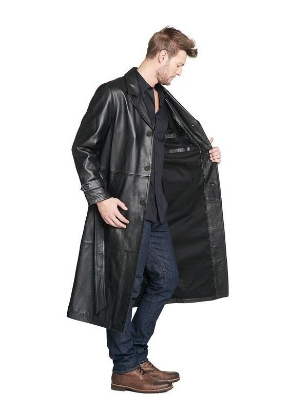 Men Full Length Leather Coat