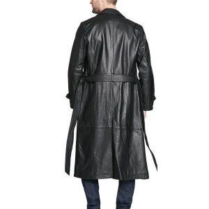 Men Full Length Black Leather Coat