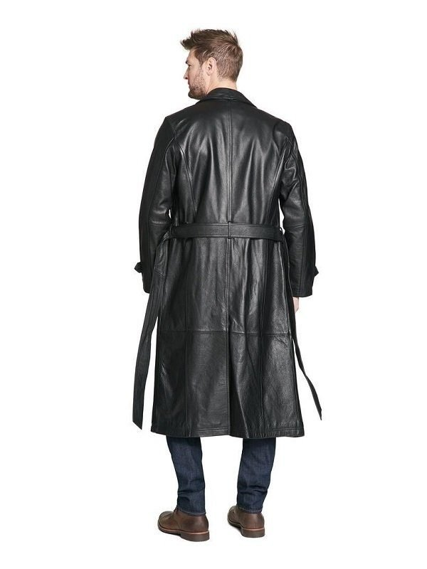 Men Full Length Black Leather Coat