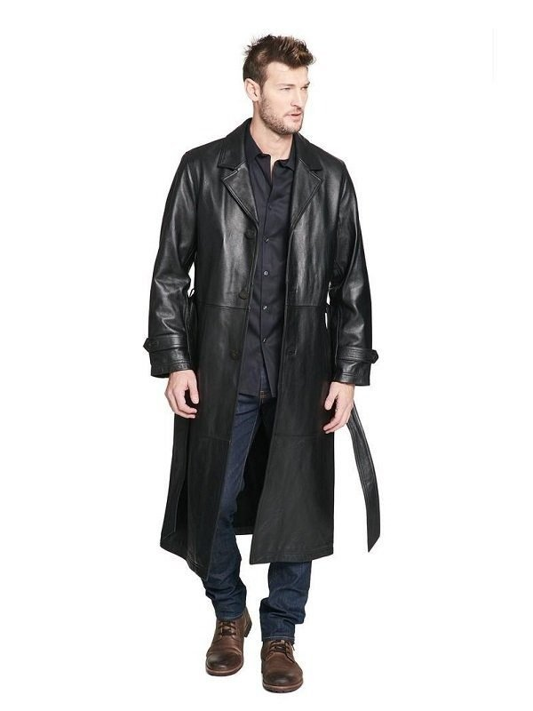 Full Length Black Leather Coat