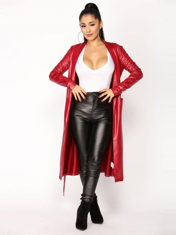 American Singer Ariana Grande Red Faux Leather Coat