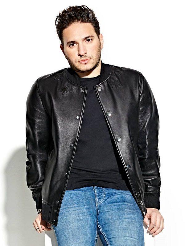 DJ Jonas Blue Black varsity Leather Jacket