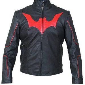 Batman Red Logo Beyond Terry Mcginnis Leather Jacket