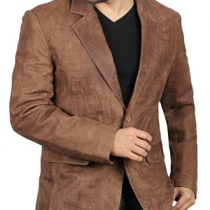 Lorenzo Men's Leather Blazer Jacket Brown Coat