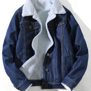 blue denim shearling jacket