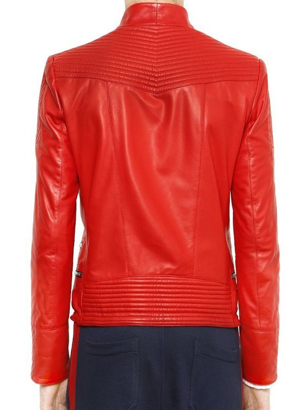 Justin Bieber Quilted Design Red Leather Jacket