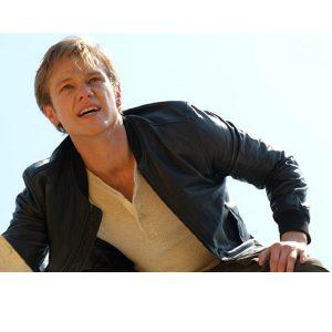 Angus MacGyver Lucas Till Season 4 Black Leather Jacket