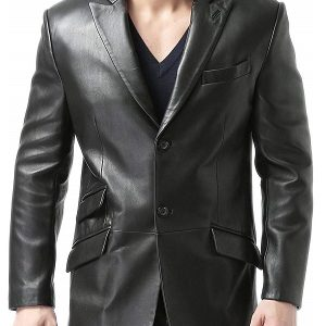 Slim Fit Design 2 Button Black Leather Blazer for Men
