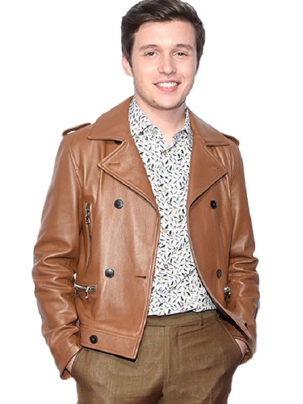 Film Love Simon Nick Robinson Brown Leather Jacket