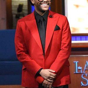 Singer The Weeknd Blinding Lights Red Coat