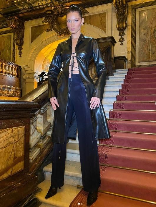 bella hadid black leather coat