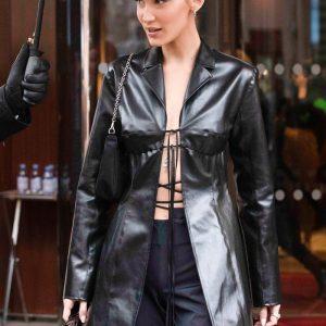 bella hadid leather coat