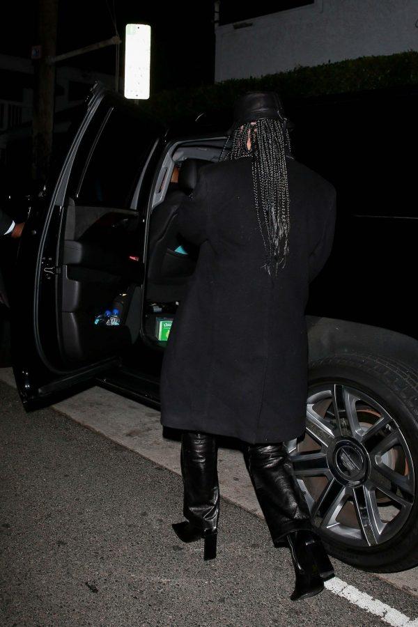 Rihanna black wool coat
