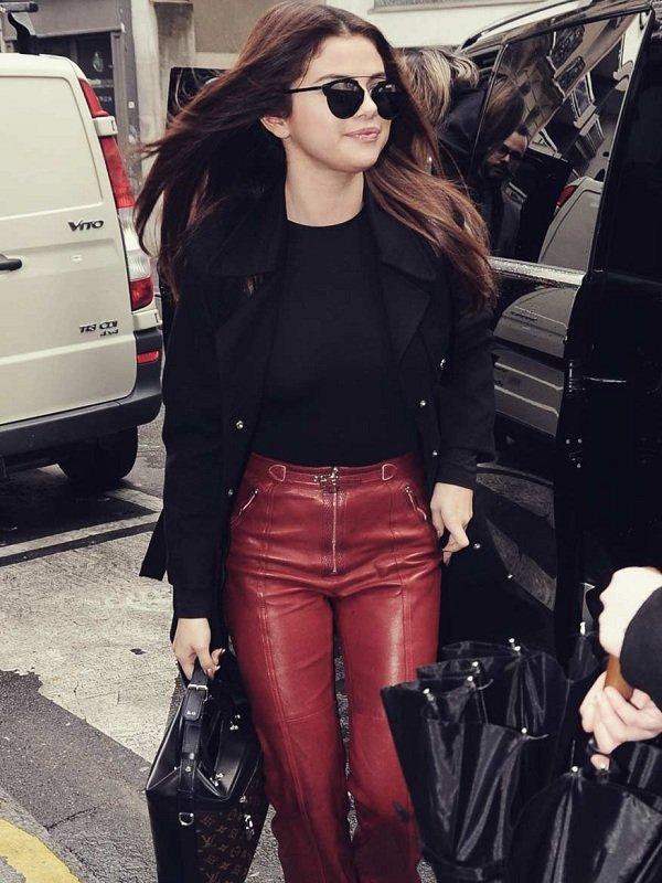 Singer Selena Gomez Black Wool Trench Jacket