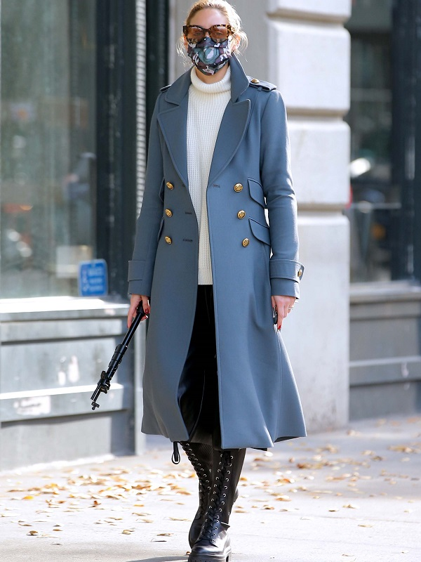 olivia palermo out in brooklyn gray coat